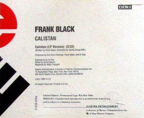 Calistan promo CD single cover